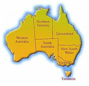 Map of Australia where information on Australia starts and which state you will be travelling in