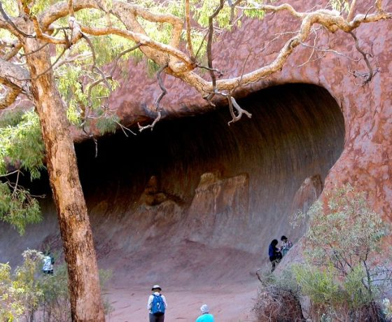The base walk around Uluru provides many points of geological and cultural interest in a comfortable 9.4 kms circuit.