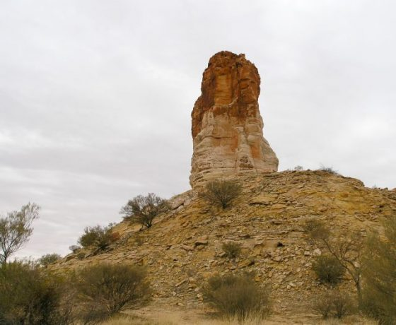 Rising 40 metres above the Simpson Desert, Chambers Pillar is a sandstone deposit worn down over 350 million years, a landmark for explorers and pioneers since 1860