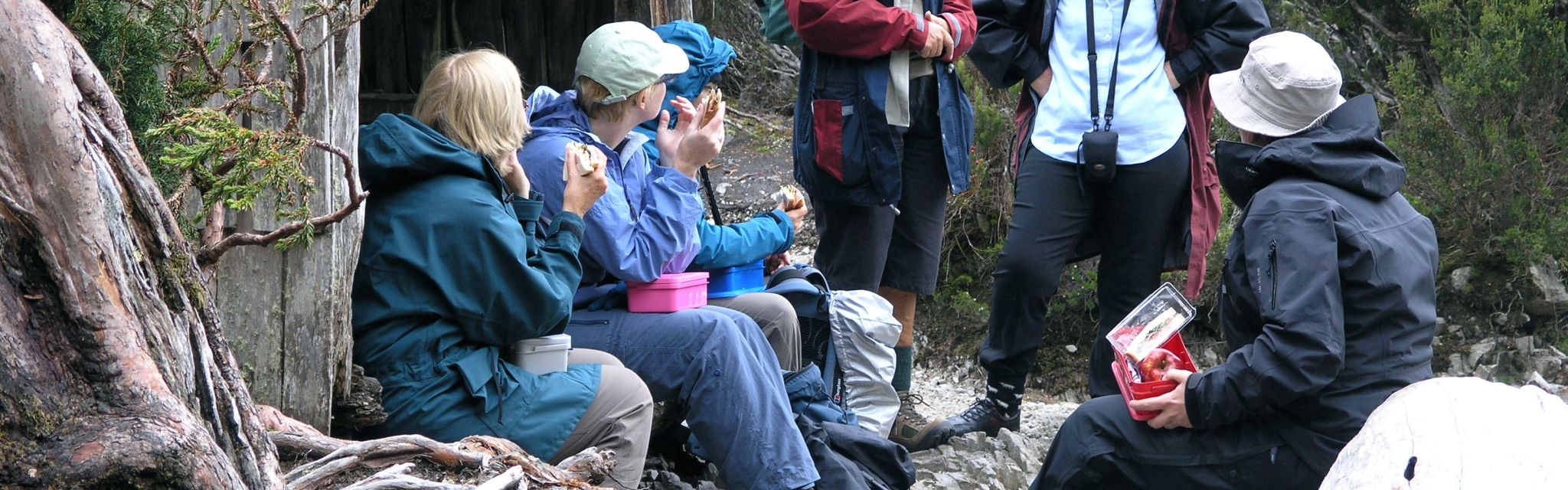 Club members enjoying lunch on the walk
