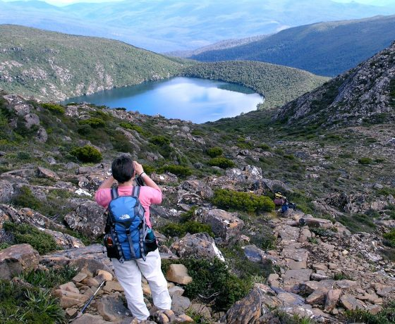 The climb over dolerite debris leads to the Hartz Mountains and panoramic views of hidden lakes and the great South-West Wilderness