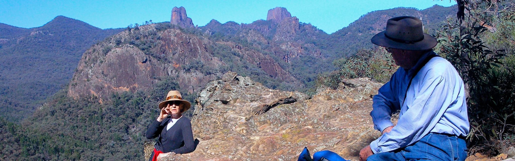 Seniors meet with a chat on Warrumbungles Trail during a Seniors Over 50s Holiday