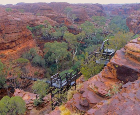 National Park management has installed access stairs from the Kings Canyon Rim to The Garden Of Eden deep within the canyon