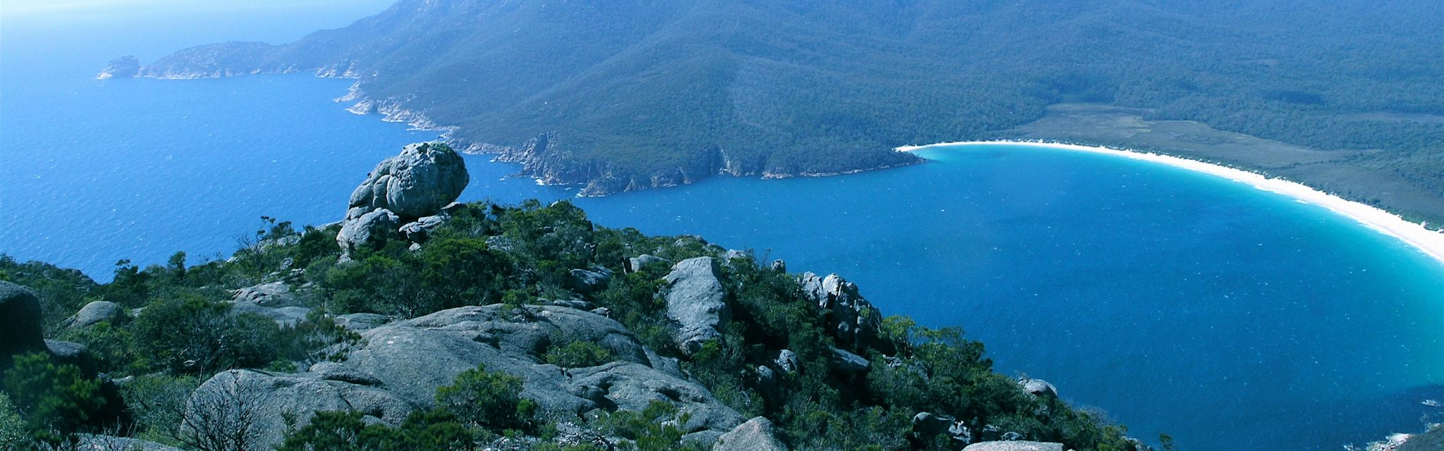 Wineglass Bay from Mt Amos on Tasmania National Parks tour
