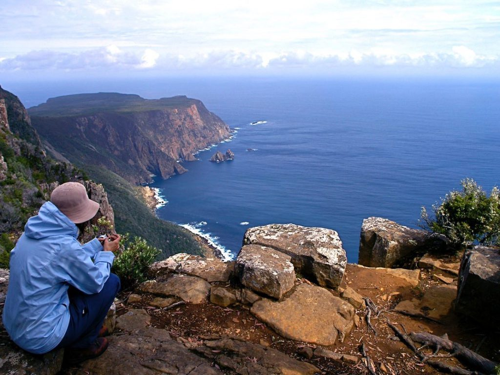 Grand vista of southern ocean and first sighting of Cape Raoul, Tasman National Park
