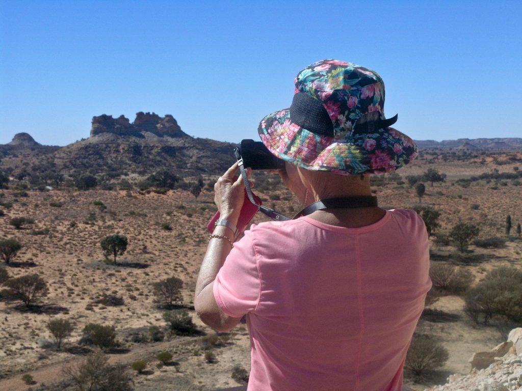 Our guest capturing an image in the outlying regions of the Simpson Desert